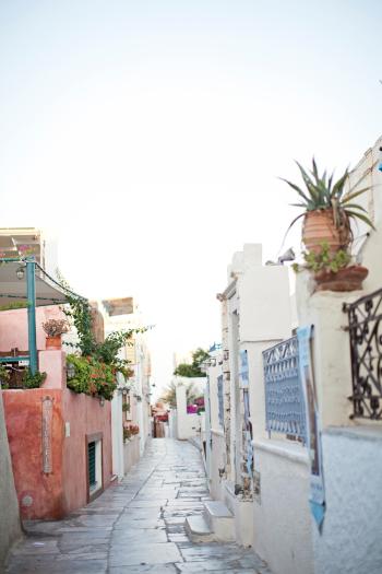 Colorful Street in Santorini