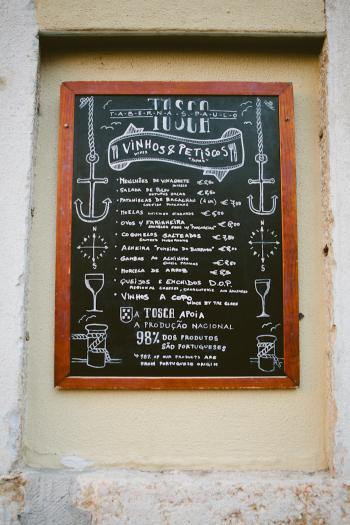 Restaurant Menu in Lisbon