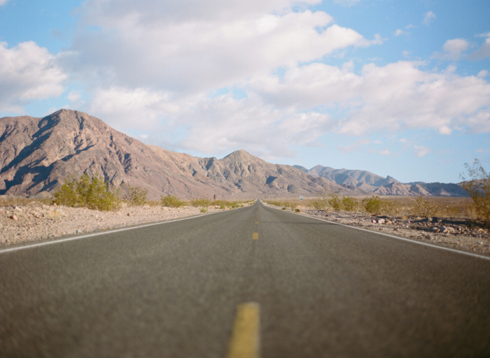 Open Road in the Mojave Desert
