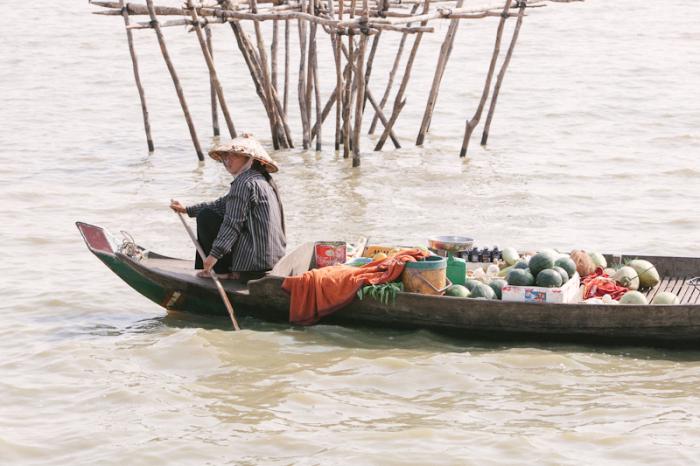Woman on Boat Cambodia