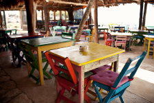 Colorful Tables at Zamas Hotel in Tulum