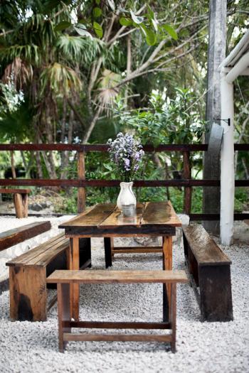 Seating at Hartwood Restaurant in Tulum