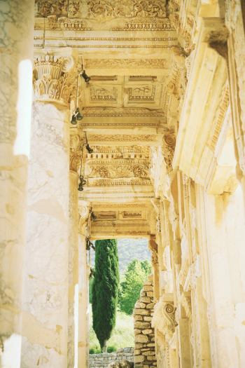 Details at the Library of Celsus Ruins in Turkey