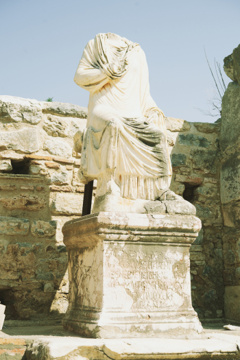 Statue at the Library of Celsus in Ephesus