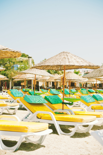Yellow Beach Chairs in Bodrum Turkey