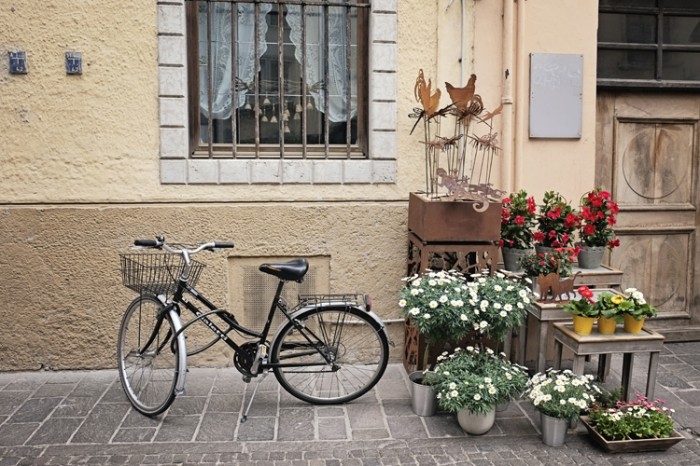 Bicycle and Flower Stand in Bolzano Italy
