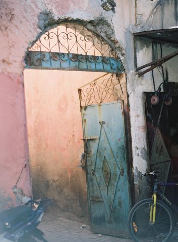 Blue Iron Door in Morocco