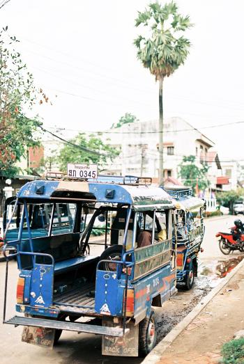 Blue Tuk Tuk in Vientiane Laos