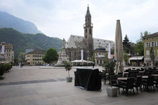 City Plaza and Outdoor Cafe in Bolzano Italy