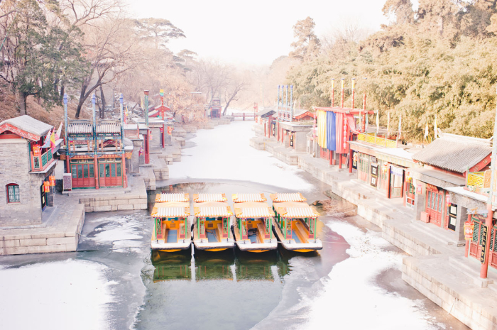 Docked Boats in Summer Palace