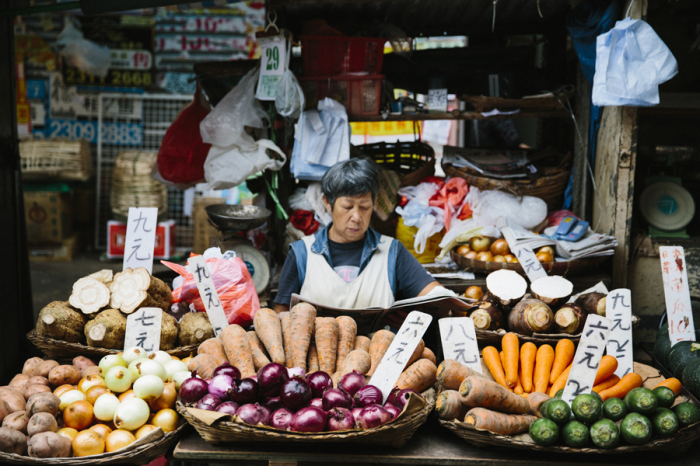 Fresh Vegetables At A Mongkok Hong Kong Market