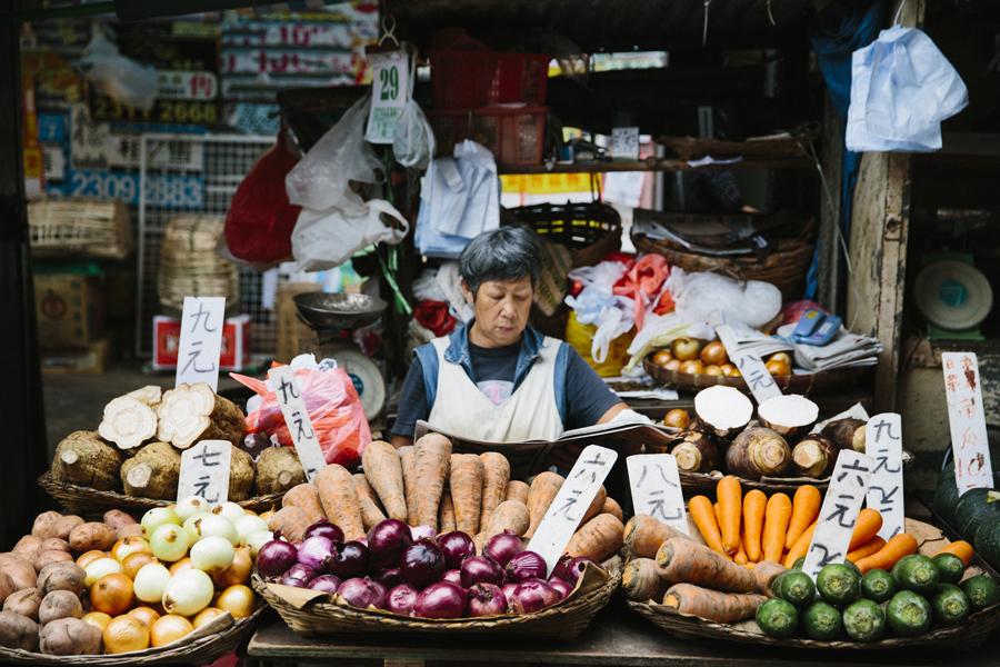 Fresh Vegetables At A Mongkok Hong Kong Market