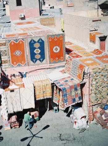 Market Rug Vendors in Morocco