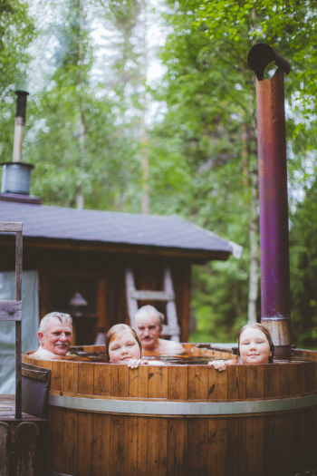 Family in the Hot Tub in Finland