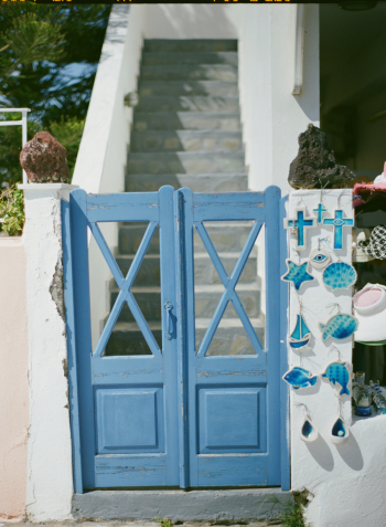 Painted Blue Shutters in Santorini