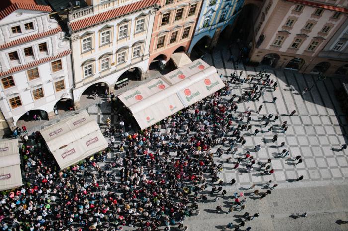 People Watching Astronomical Clock Prague