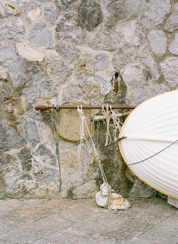 Boat Tied to the Wall on the Amalfi Coast