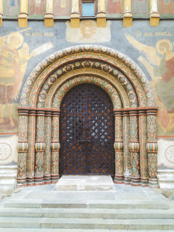 Doors at the Cathedral of the Dormition in the Moscow
