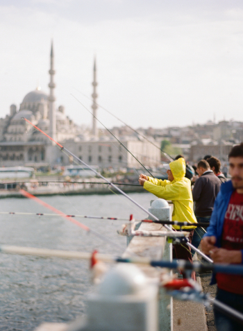 Fishing from the Bridge in Istanbul