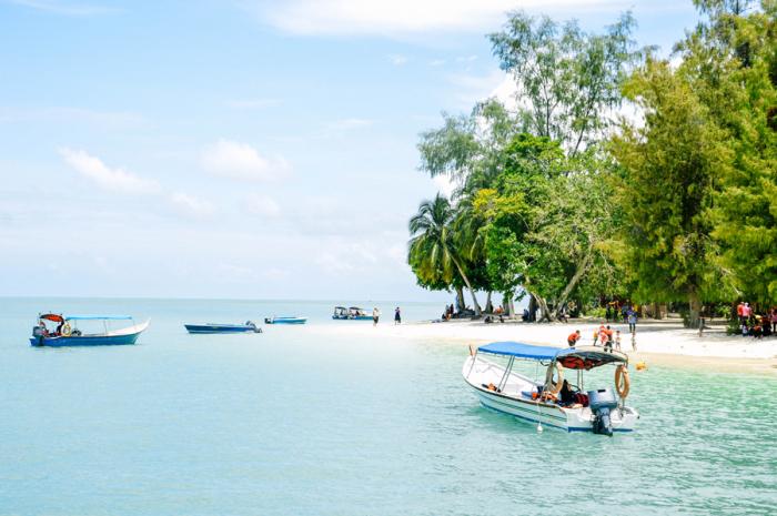 Jetty Boats at Pulau Beras Basah in Malaysia