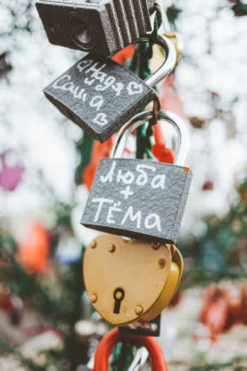 Locks on the Bridge of Kisses in Moscow Russia