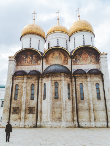 The Cathedral of the Dormition in the Moscow Russia