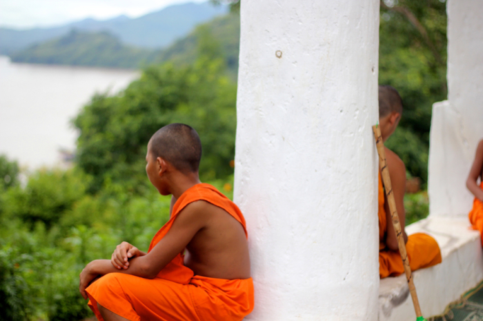 Buddhist Monks Overlooking Laos
