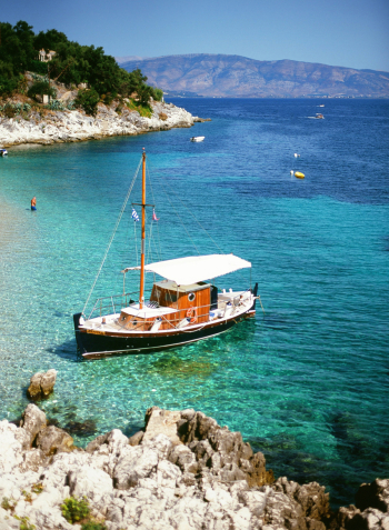 Docked Boat on Kalamaki Beach in Corfu Greece