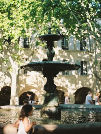 Fountain in the Place aux Herbes in Uzes France