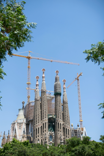 La Sagrada Familia in Barcelona Spain Under Construction