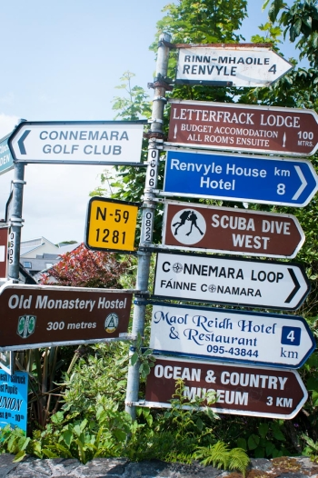 Road Signs in Connemara Ireland