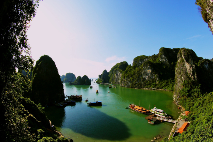 Rock Cliffs of Ha Long Bay in Vietnam