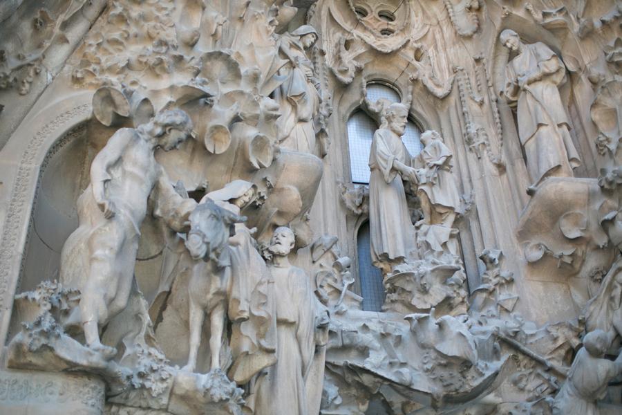 sculptures on la sagrada familia in barcelona spain