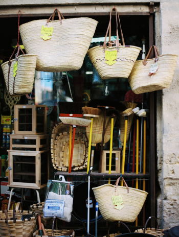 Straw Baskets and Brooms in Uzes France