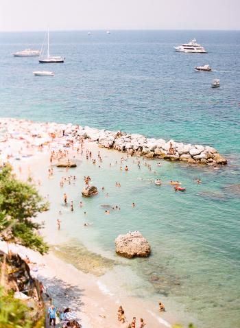 Beachgoers in Positano Italy