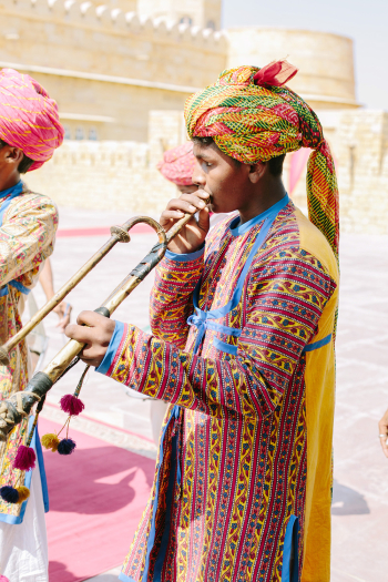 Musician at Suryagarh Palace in India