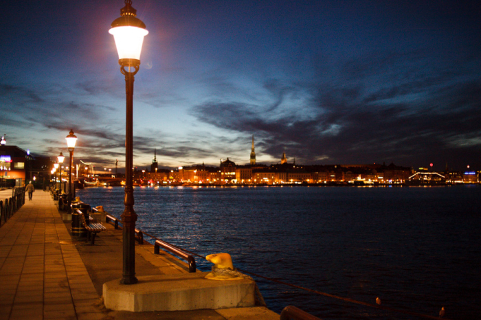 Night on the Waterfront in Stockholm Sweden
