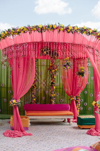 Pink Wedding Decor at Suryagarh Palace in India