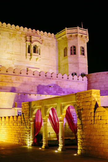 Purple Wedding Lighting at Suryagarh Palace in India