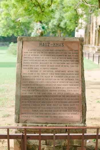 Sign of Hauz Khas Village New Dehli