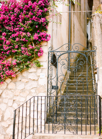 Stone Wall and Wrought Iron Entry in Positano Italy