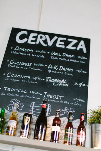 Beer Menu at Cantina Teguise in Teguise Spain