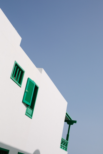 Green Shutters and Blue Sky in Lanzarote Spain