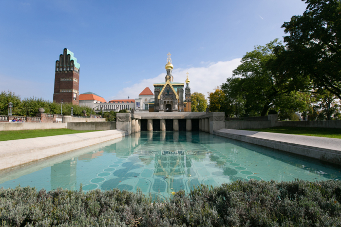 pool in front of the mathildenhohe in darmstadt germany