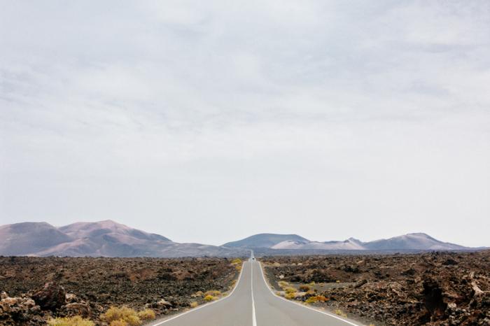 Road Through Timanfaya National Park in Lanzarote Spain