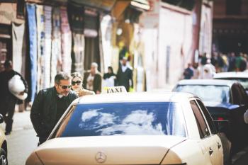 Taxi in the Marrakech Medina of Morocco