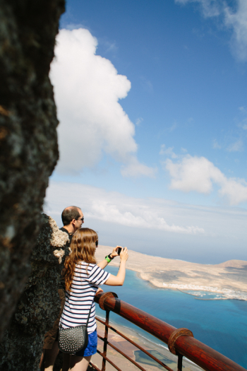 Tourists Overlooking Graciosa Island Spain