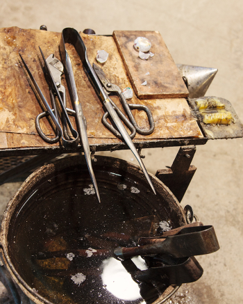 Glassworking Tools at the Ferro Lazzarini Factory in Murano Italy
