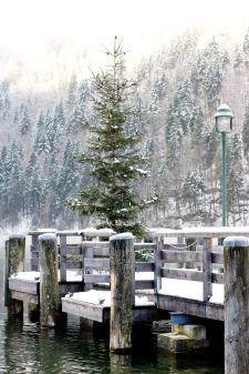 Snowy Dock in Konigssee Germany
