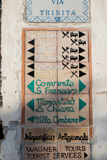 Street Sign in Ravello Italy